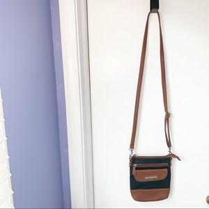 STONEMOUNTAIN TWO TONE TEXTURED LEATHER CROSSBODY
